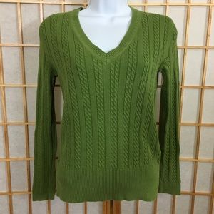 TH Apple Green Cable Knit Long Sleeve Sweater S
